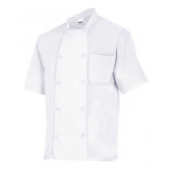 Chaqueta cocina básica manga corta blanca.