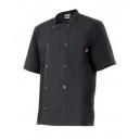Chaqueta cocina básica manga corta negra.